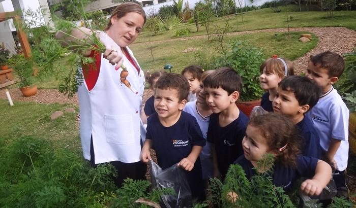 Release: Colégio Carbonell estimula os alunos a consumirem alimentos colhidos na própria horta