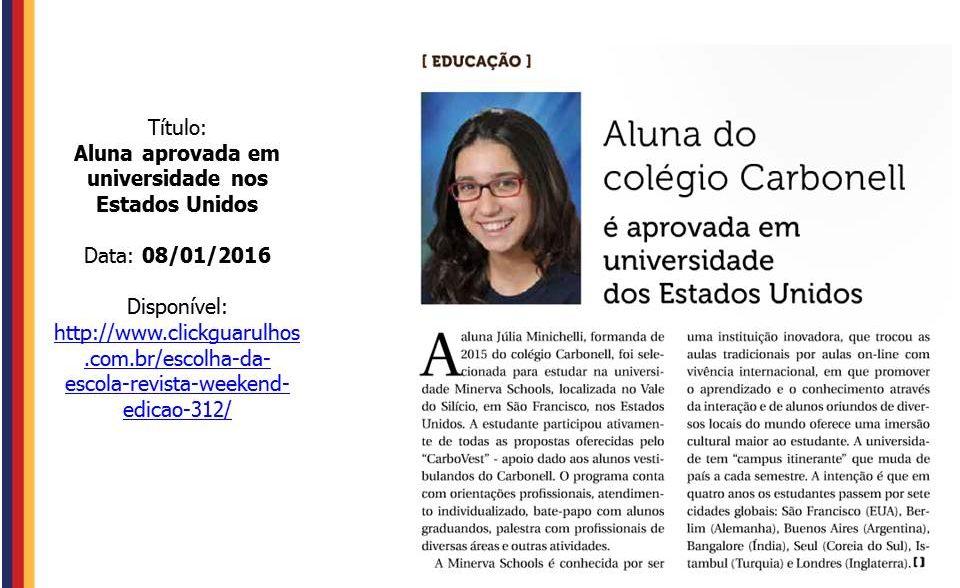 Na mídia: Aluna é admitida em universidade americana